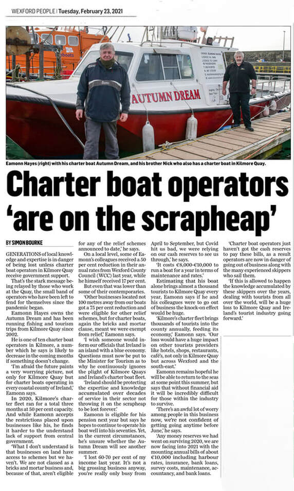 Irish Charter Skippers Assocation - Wexford People - Article 23/02/2021